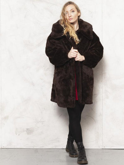 Faux Fur Coat Brown Vintage 80's Luxurious Coat Opera Coat Soft Faux Fur Overcoat Winter Vegan Coat Women Clothing size Large