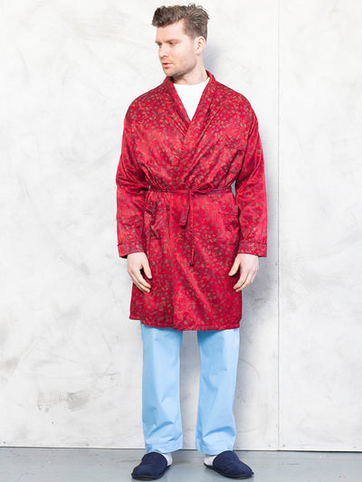 Vintage Bath Robe 70's morning red paisley print cigar jacket 90s loungewear men gift idea hugh hefner style size extra large xl