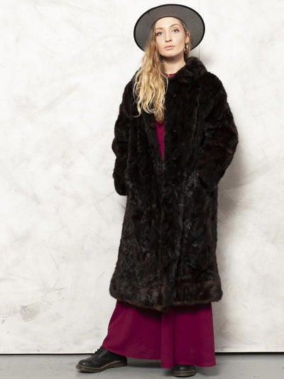 Elegant Fur Coat Vintage 60s Beaver Fur Long Coat Soft Warm Coat Luxorious Coat Winter Coat Outerwear Women Clothing size Extra Large XL
