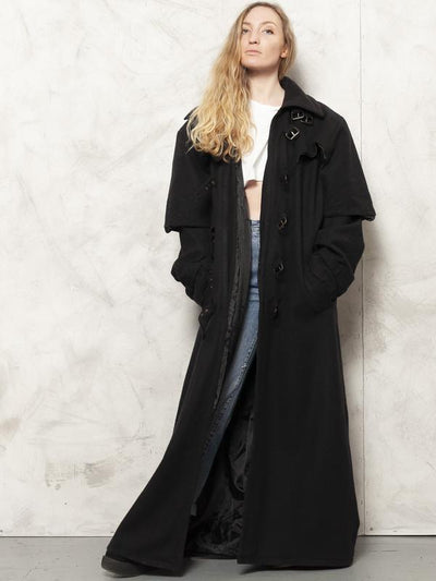 Black Wool Coat 80s Maxi Riding Coat Steampunk Coat Longline Coat Winter Outerwear Retro Overcoat Women Vintage Clothing size XL Extra Large