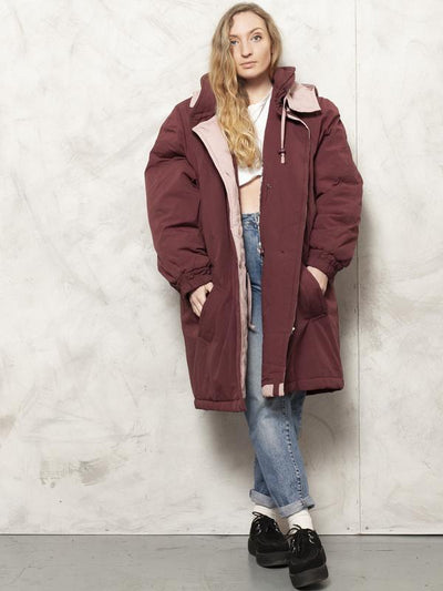 80s Padded Coat Burgundy Duvet Coat Lightweight Puffer Jacket Ski Coat Winter Outerwear Women Vintage Clothing size Large XL Extra Large XXL