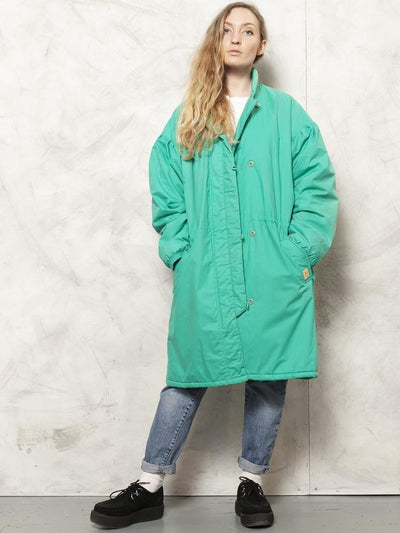 80s Ski Coat Green Snowboard Coat Puffy Jacket Retro Style Winter Outerwear Puffer Coat Oversized Padded Parka Skiwear size XL Extra Large