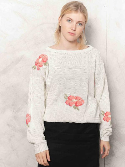 80s Knitted Sweater Floral Knitwear Nerd Sweater Grandma Knitted Pullover Retro Jumper Soft Girl Sweater Women Vintage Clothing size Large