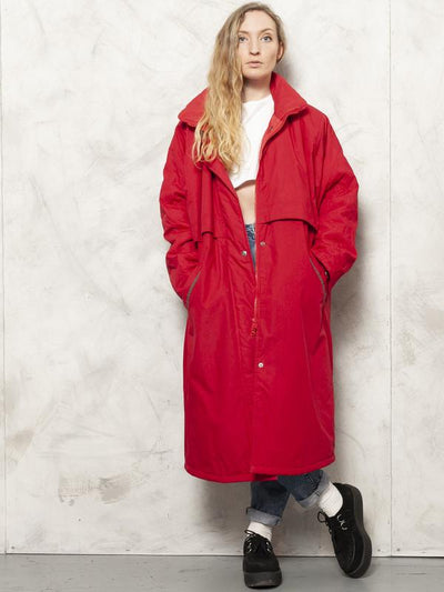 Red Padded Coat 80s Long Winter Puff Jacket Duvet Puffer Coat Oversized Winter Outerwear Women Vintage Clothing size XL Extra Large XXL