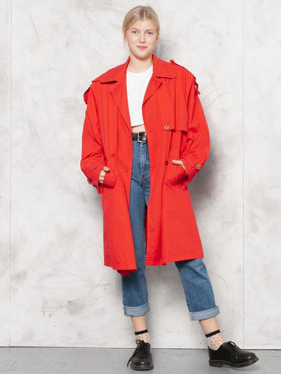 80s Red Trench Coat Vintage Autumn Mac Coat Vintage Duster Coat Bold Raincoat 80s Outerwear 80s Clothing Oversized Coat size XL Extra Large