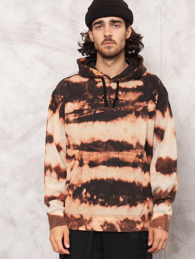 Tie Dye Pullover Hoody . Men Handmade Bleached Stripe Pattern Sweatshirt Unique One Off Black Reworked All Over Bleach Print . size Large L