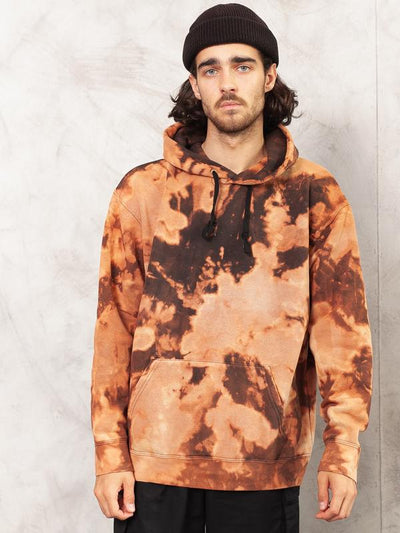 Tie Dye Pullover Hoody . Men Handmade Bleached Patch Pattern Sweatshirt Unique One Off Black Reworked All Over Bleach Print . size Large L