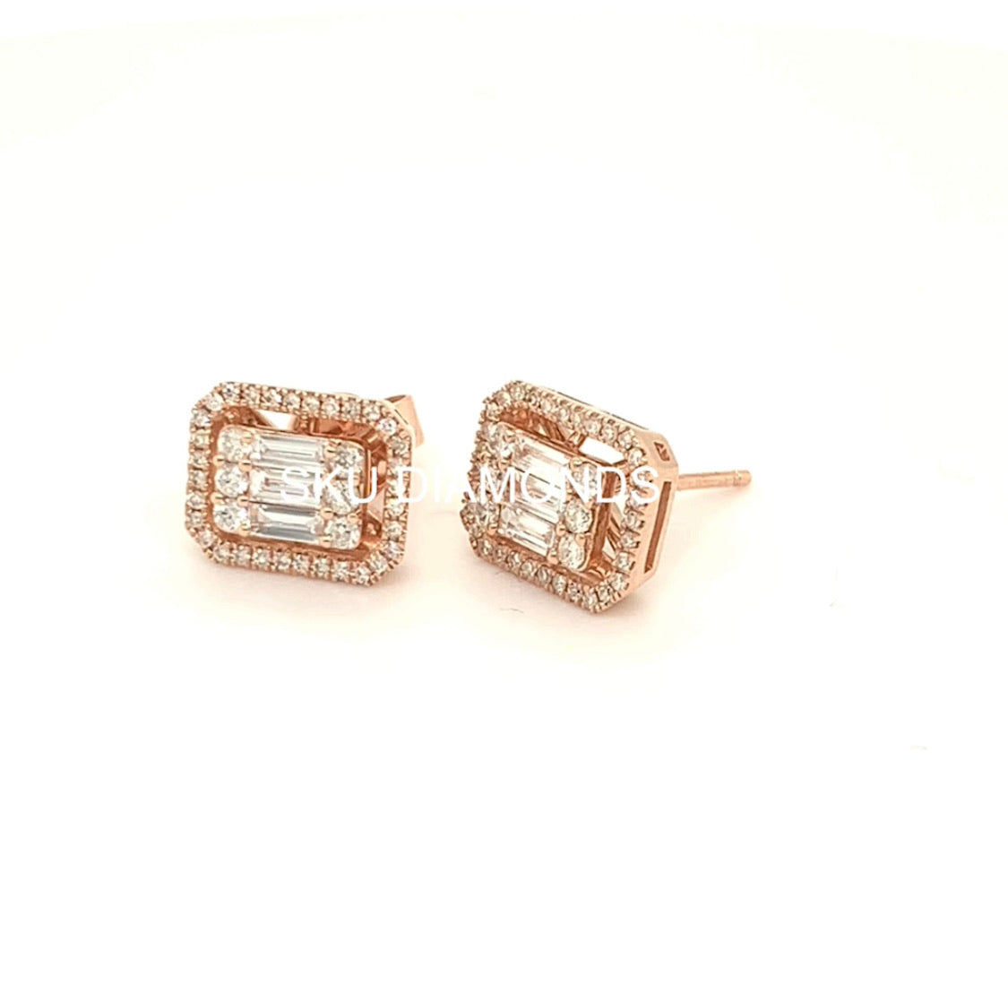 Emerald Shaped Halo Diamond Earrings