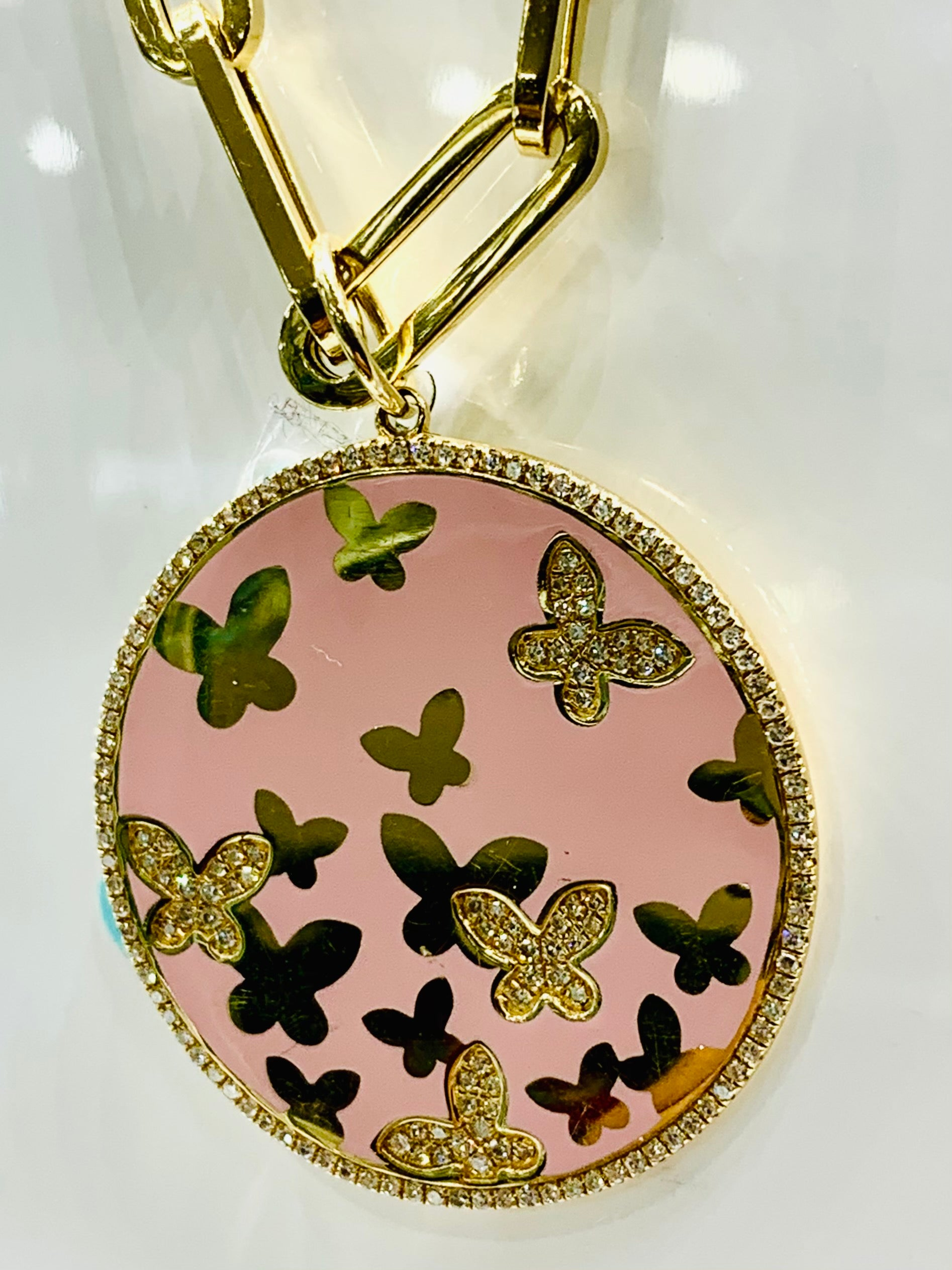 Butterflies Diamonds Enameled Coin