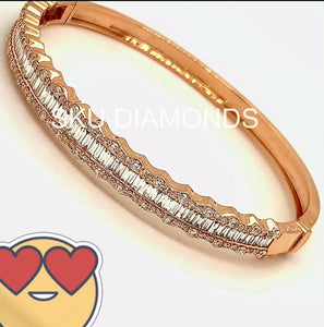 Large Baguettes Diamonds with Round Diamonds on both sides of Bangle