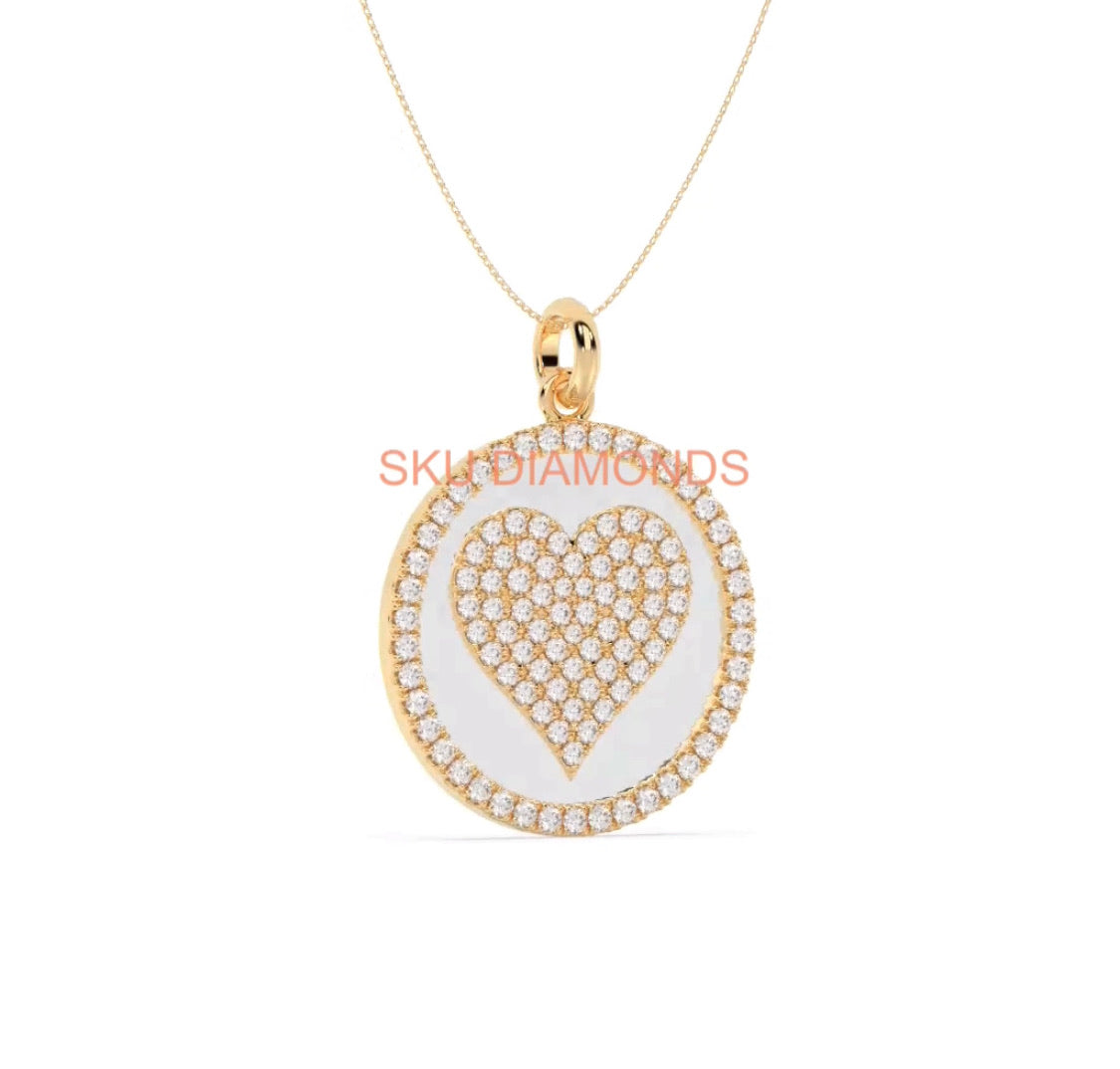 Heart Diamonds Pave Pendant On Whit Enamel