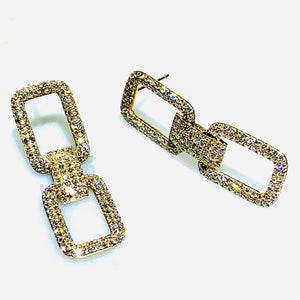 Double rectangle pave earrings