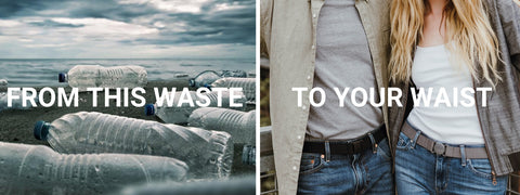 From this waste to your waist. Jelt belts are made from recycled plastic bottles. Image shows water bottles littered on beach and a couple wearing Jelt elastic stretch belts.