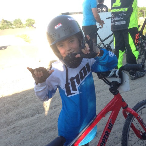 Boy at bike race