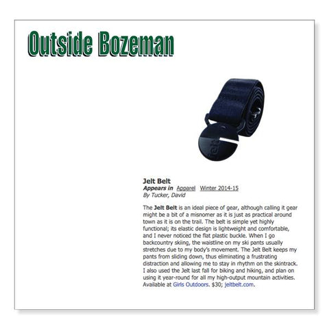 Jelt Belt featured in Outside Bozeman, Winter 2014-15 Issue