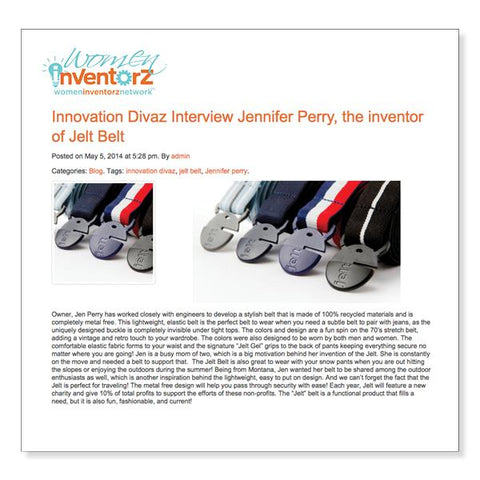 Women Inventorz Network, Interview with Jen Perry, Inventor of Jelt Belt
