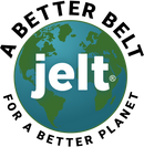 Jelt logo in a globe with A Better Belt for a Better Planet