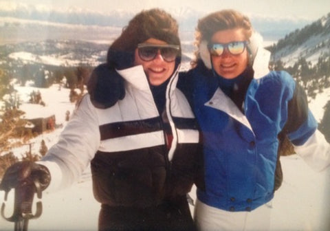 Jen Perry owner of Jelt, skiing with a friend in 1987.