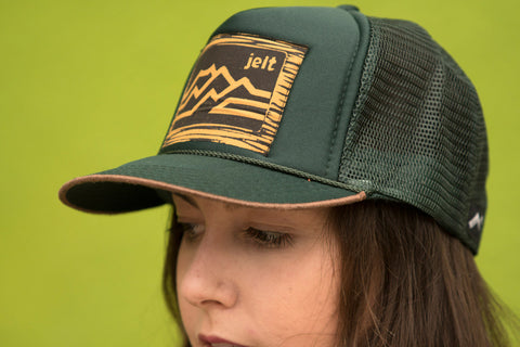 Jelt Dark Green Mountain Trucker Hat