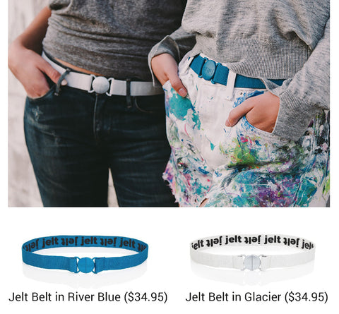 Jelt Belt on Classic Style, Glacier-White Jelt and River Blue Jelt