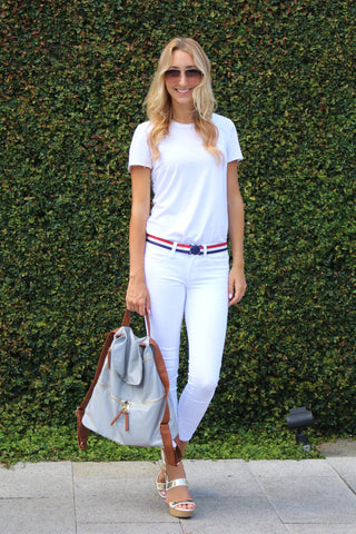 USA Belt with white t-shirt and white jeans