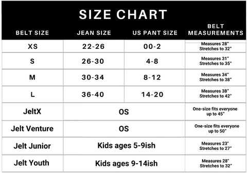 Jelt Belt size chart. Includes sizing for x-small, small, medium, large, JeltX, Venture, Youth and Junior belts.