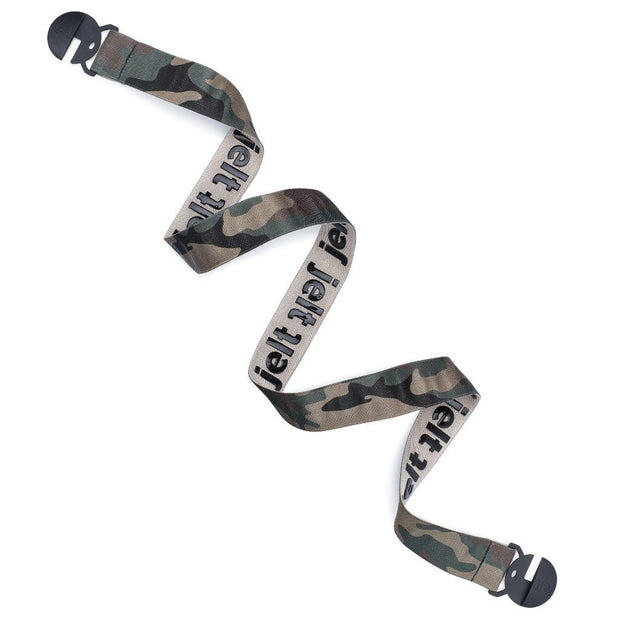 f Jelt True Camo elastic belt shown in a spiral product layout.