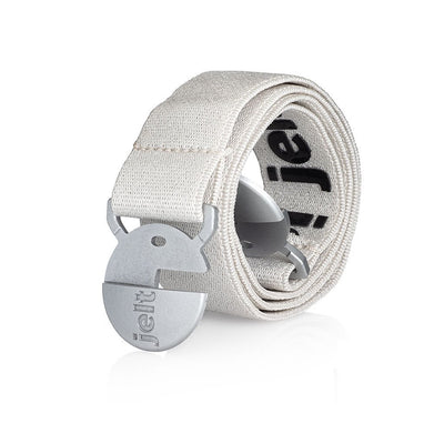 Jelt Youth glacier white elastic belt made for kids ages 9 and up.