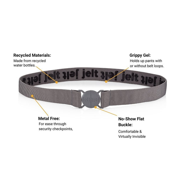 Jelt Steel Grey elastic stretch belt. Made from recycled materials.