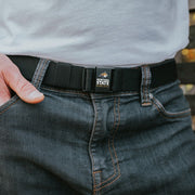 Man wearing Montana State Bobcat Adjustable JeltX belt by Jelt