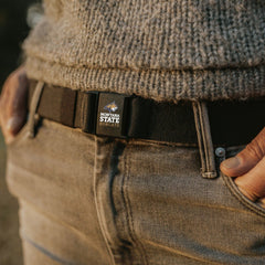 Woman wearing Montana State Bobcat JeltX Adjustable Belt by Jelt