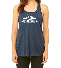 Woman wearing Jelt Campsite Graphic Tank in Navy