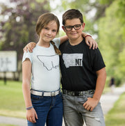 Kids wearing Jelt Youth sized belts. The girl is wearing Glacier White Jelt Youth elastic belt and the boy wearing Camo Jelt Youth elastic belt.