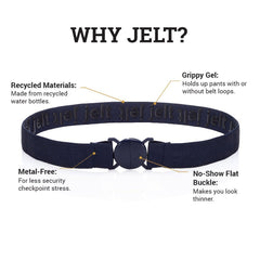 Anatomy of a Jelt belt featuring the Denim Navy belt with call-outs mentioning recycled materials, inner grippy gel, metal free and a no-show flat buckle
