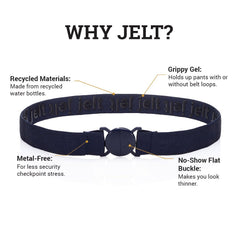 Why Jelt? Jelt elastic belts are made from 100% recycled plastic bottles with an inner grippy gel and features a metal free, no-show buckle.