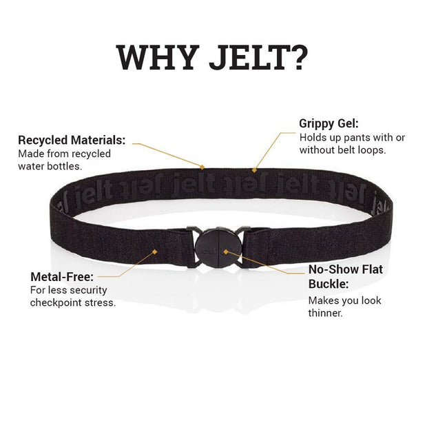 Why Jelt? Featuring Black Granite Elastic Jelt Belt. Made from recycled materials, with inner grippy gel, metal-free and a no-show flat buckle