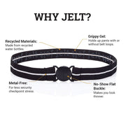 Jelt Junior black and white stripe elastic belt made for kids ages 5-9.