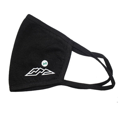Black Jelt face mask with mountain graphic