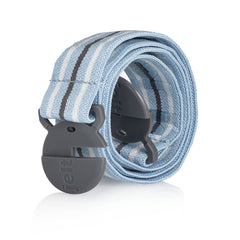 Jelt Junior elastic stretch belt for kids in light blue, grey and white stripe