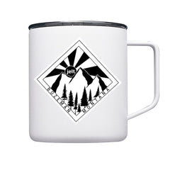 Jelt travel mug 10oz in white with mountain graphic