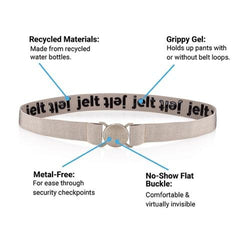 Khaki tan Jelt belt shown buckled with features including: made from recycled materials; grippy inner gel; metal free and a no show flat buckle