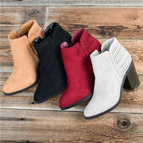 Susiecloths Side Zip Low Platform Chunky Heel Ankle Booties
