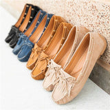 Susiecloths Breathable Flat Bottom Elegant Single Shoes Bow Fringe Peas Shoes