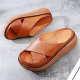 Susiecloths Platform Open Toe Comfy Slippers Casual Slide Sandals