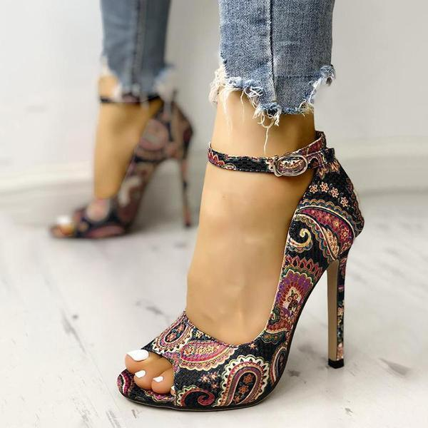Susiecloths Ethnic Print Ankle Strap High Heels