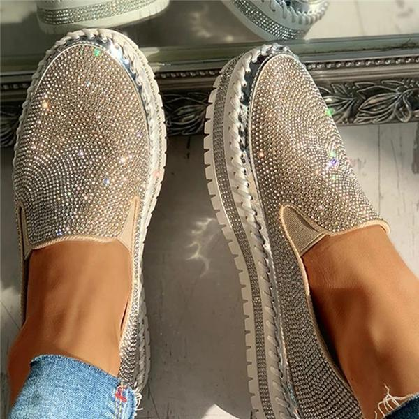 Susiecloths Women Casual Fashion Rhinestone Slip-on Loafers/ Sneakers