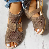 Susiecloths Studded Hollow Out Peep Toe Buckled Sandals