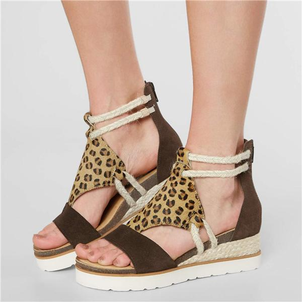 Susiecloths Leopard Leather Wedge Sandal