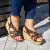 Susiecloths Spotted Cheetah Cork Heel Wedges Sandals