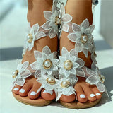Susiecloths Toe Ring Flower Design Flat Sandals